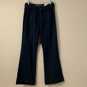 NWT Soft Surroundings Dark belted flare jeans 10P